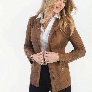 Chico's Sueded Lace-Up Sleeve Brown Zip Jacket 4/6